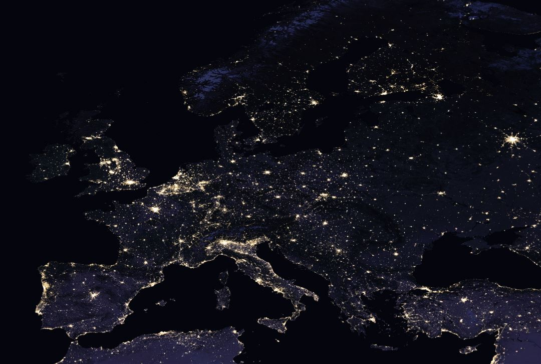Large detailed satellite map of Europe at night