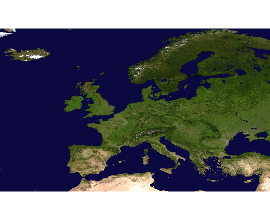 Large detailed satellite map of Europe