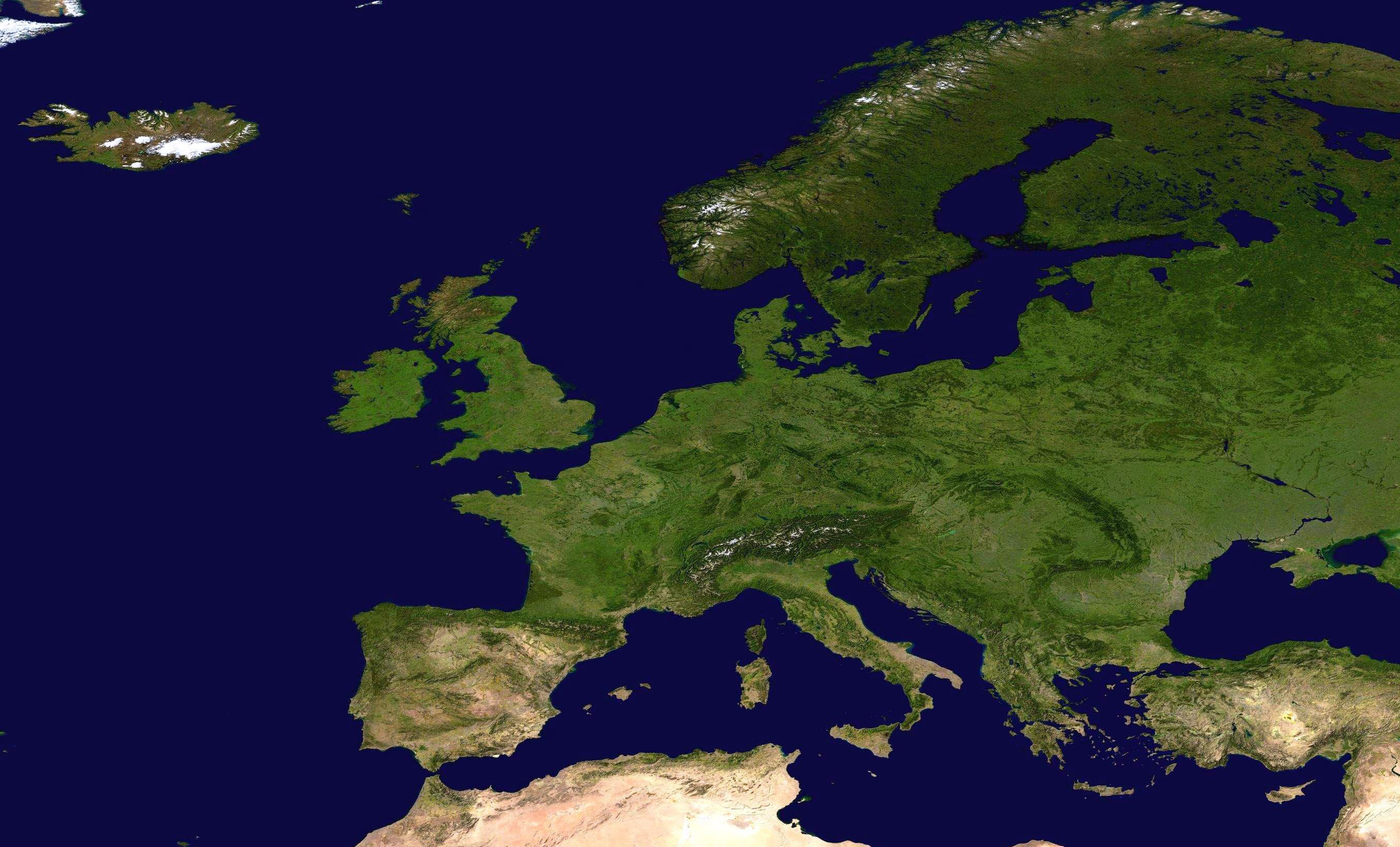 Large Detailed Satellite Map Of Europe Europe Mapsland Maps - World satellite map application