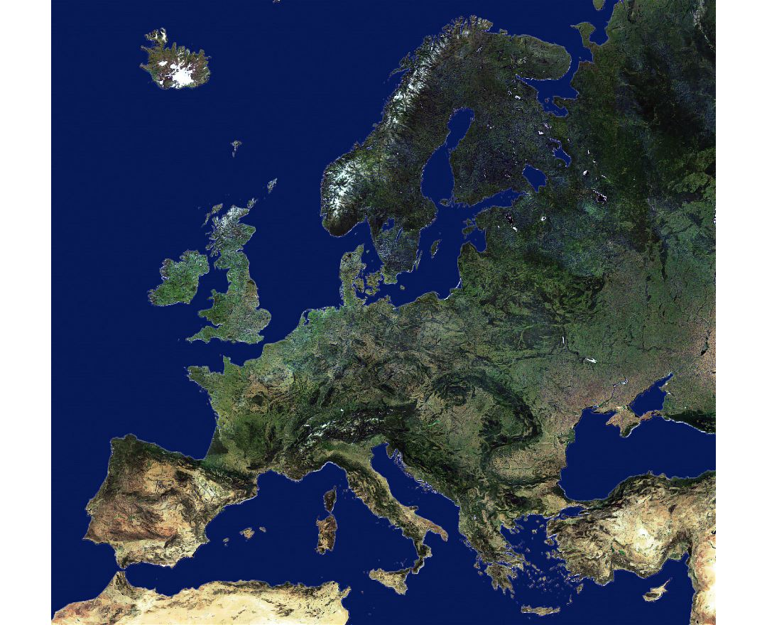 Large map of a United Europe from space
