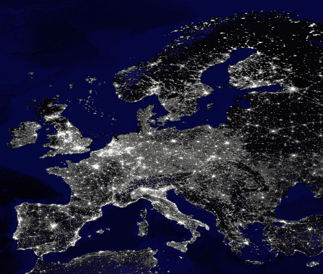 Large map of Europe at night