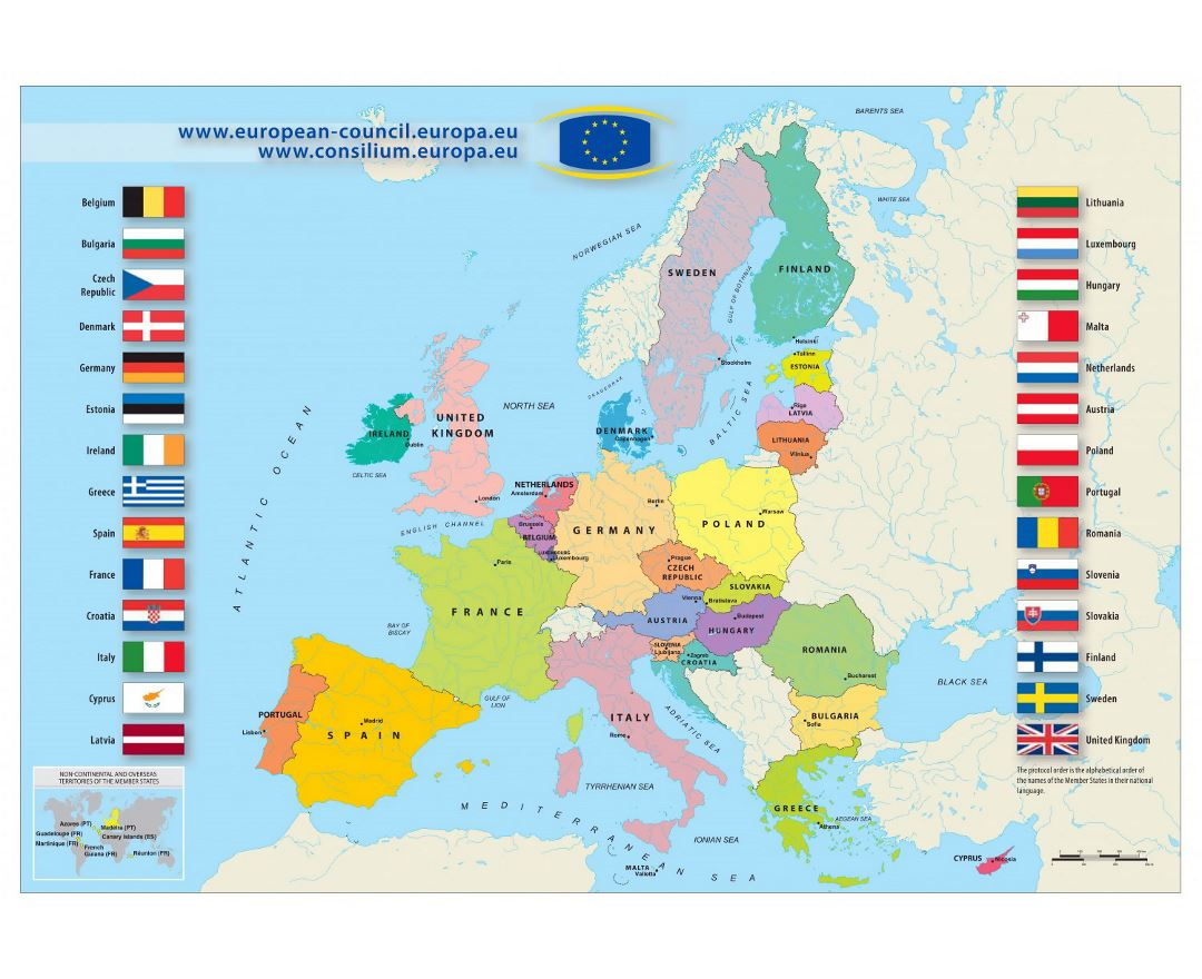 Large map of European Union - 2013