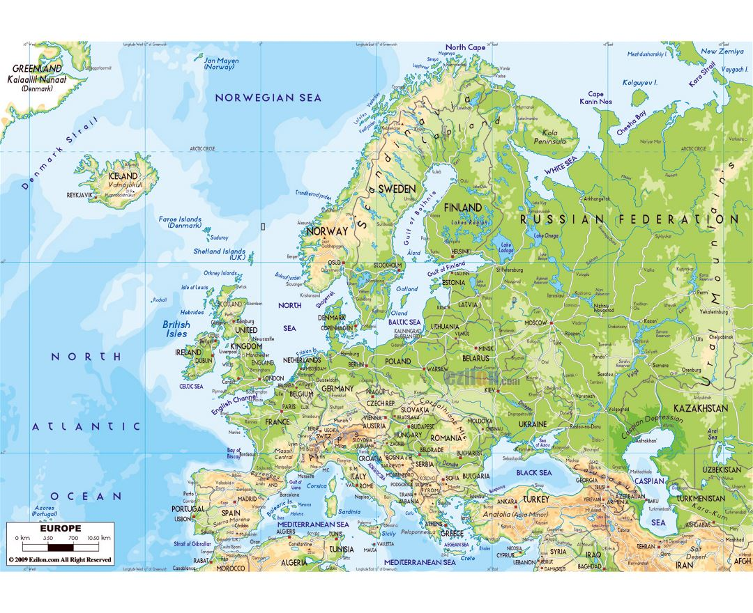 large physical map of europe with roads and major cities
