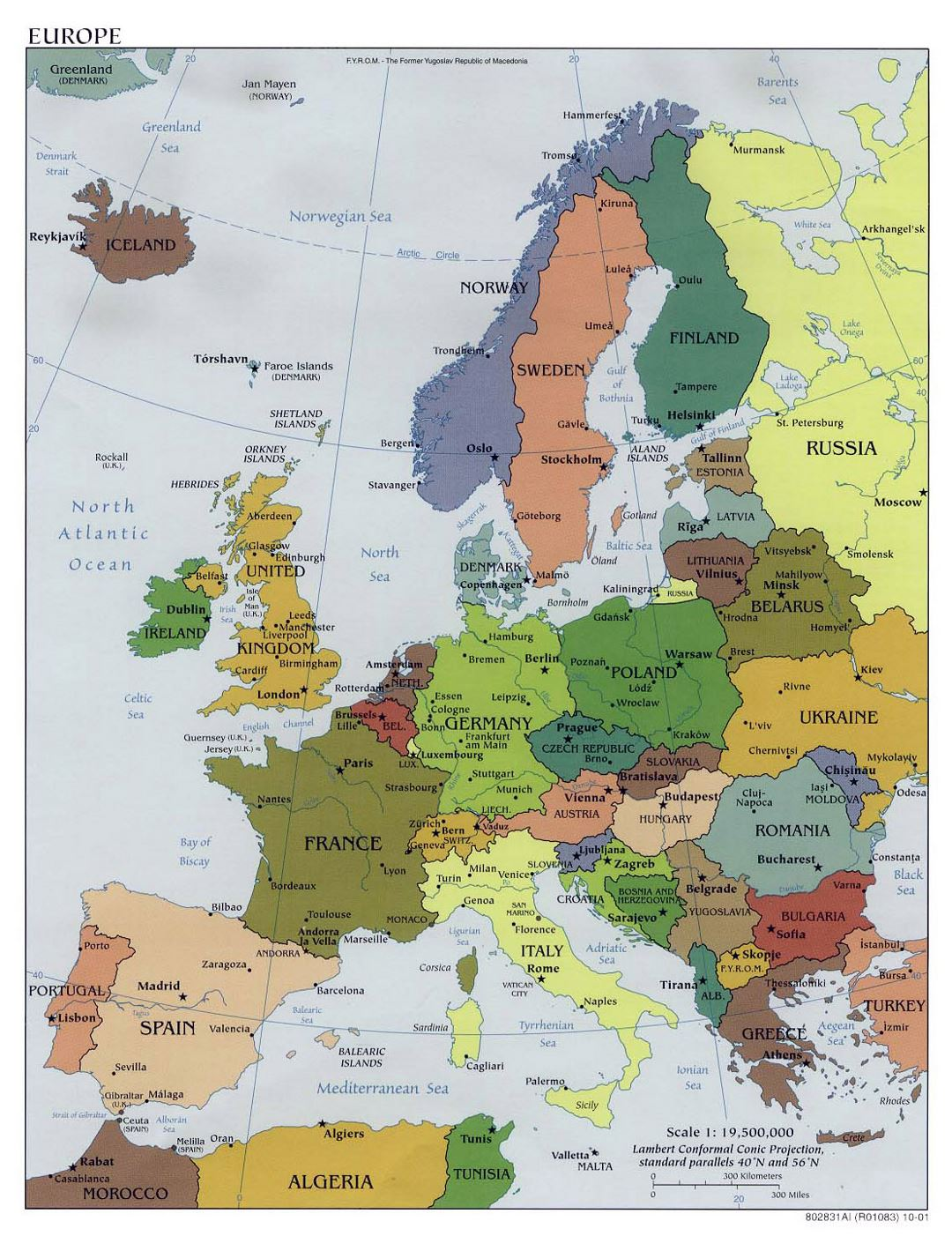 Large political map of Europe with capitals - 2001