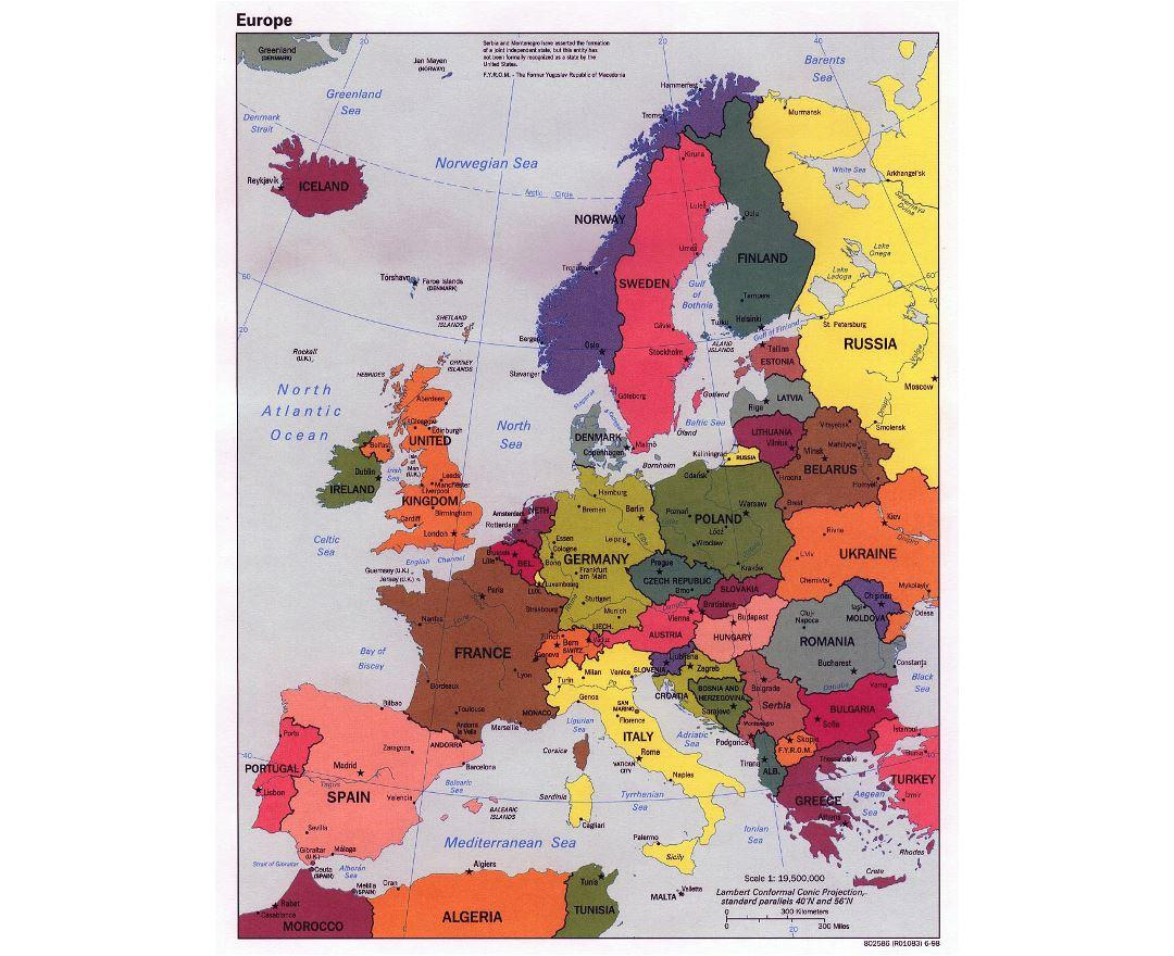 Large political map of Europe with major cities - 1998