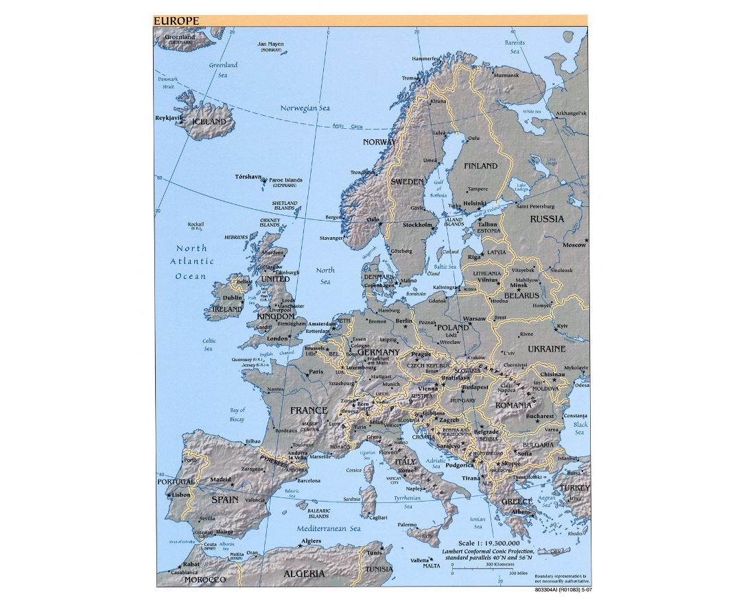 Large political map of Europe with relief and capitals - 2007