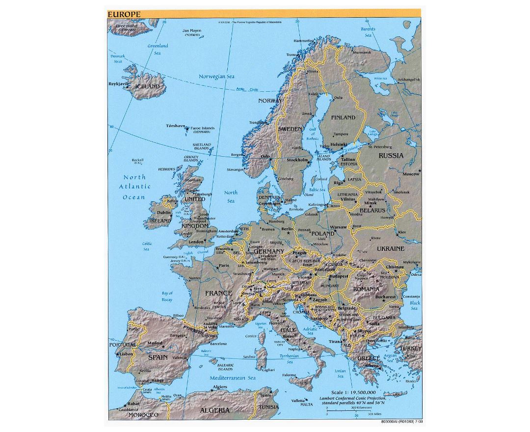 Maps of Europe and European countries Political maps Road and