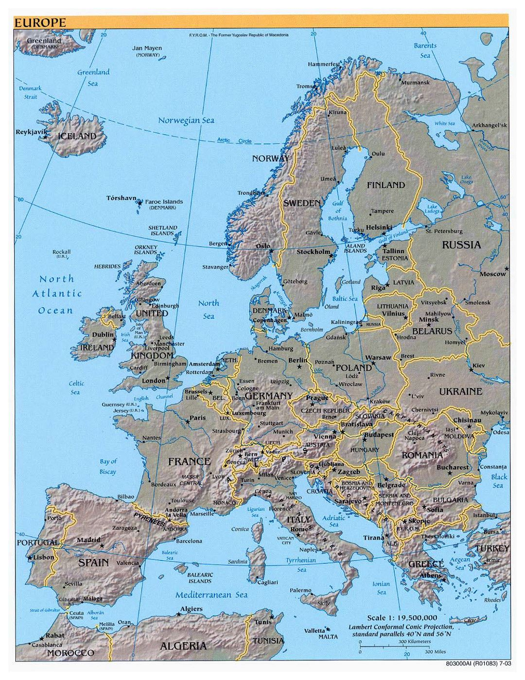 Large political map of Europe with relief and major cities - 2003
