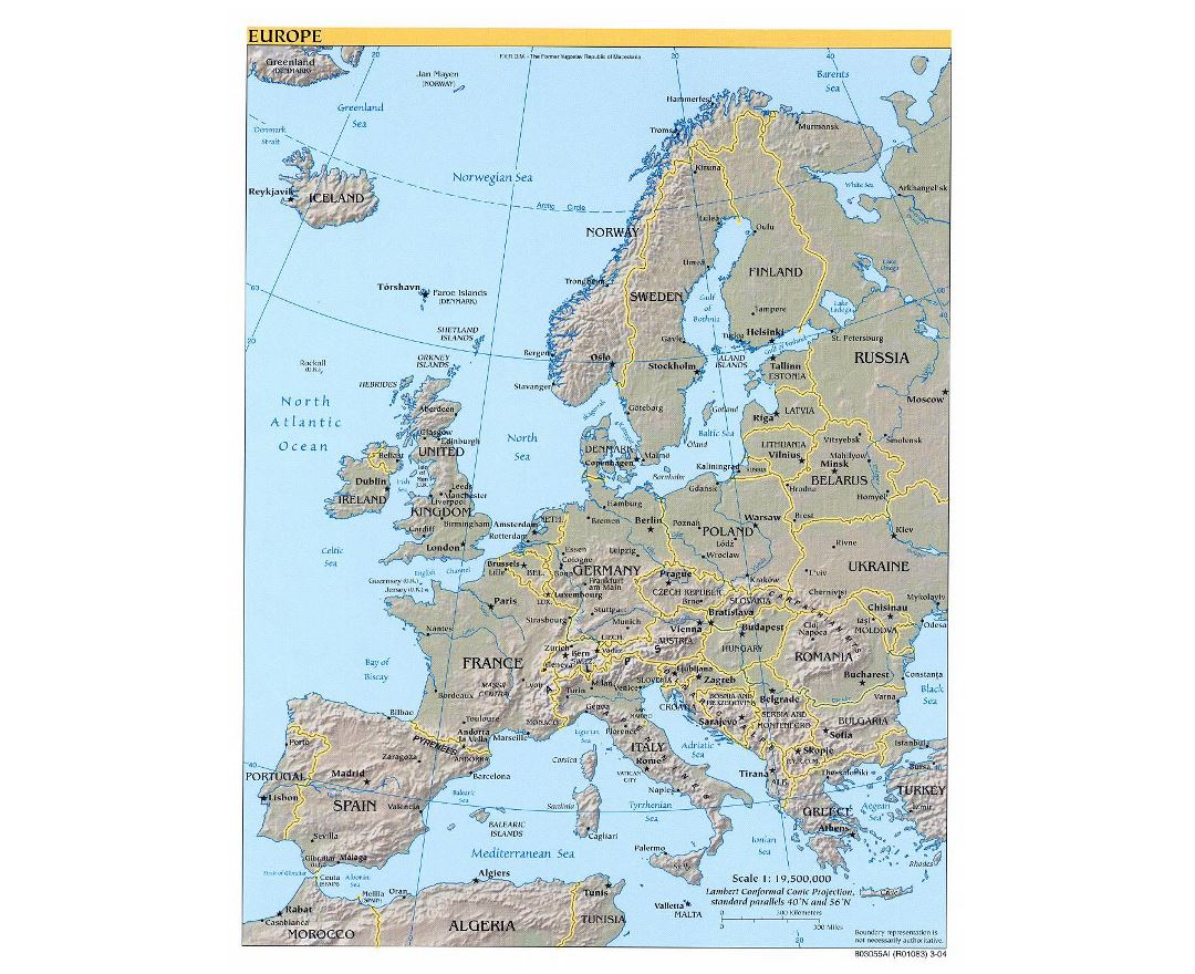 Large political map of Europe with relief, major cities and capitals - 2004