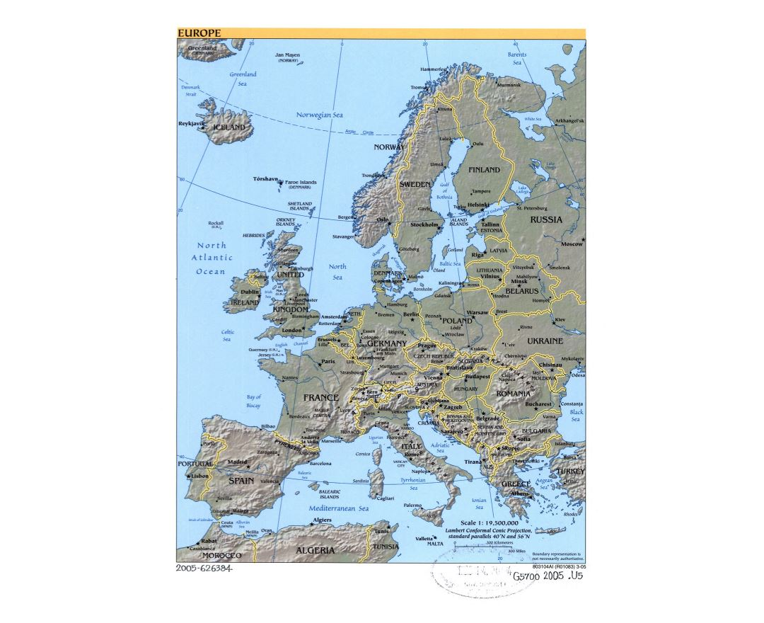 Large political map of Europe with relief, marks of capital cities and major cities - 2005