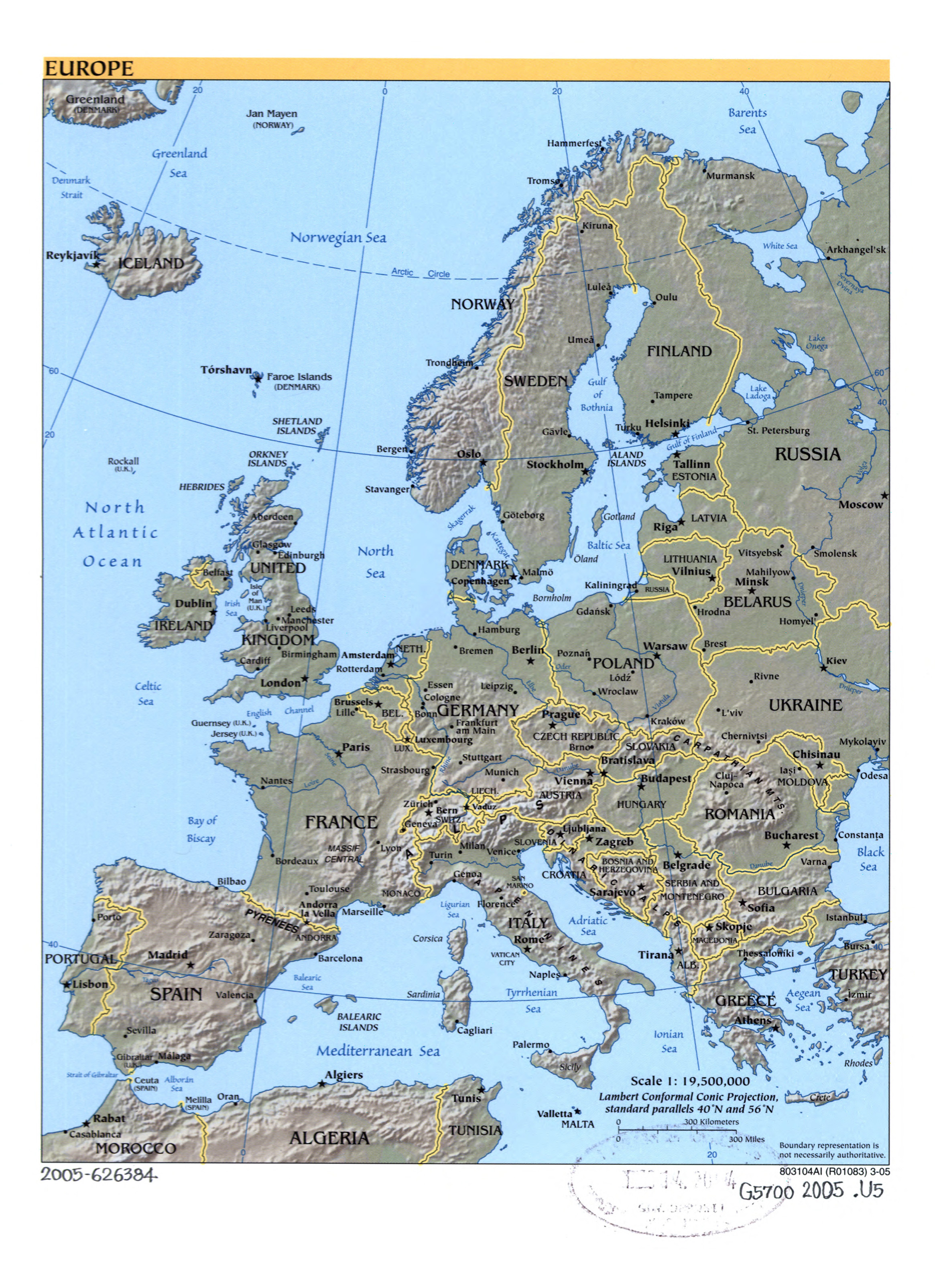 Large Political Map Of Europe With Relief Marks Of Capital Cities - Political map of europe with capitals
