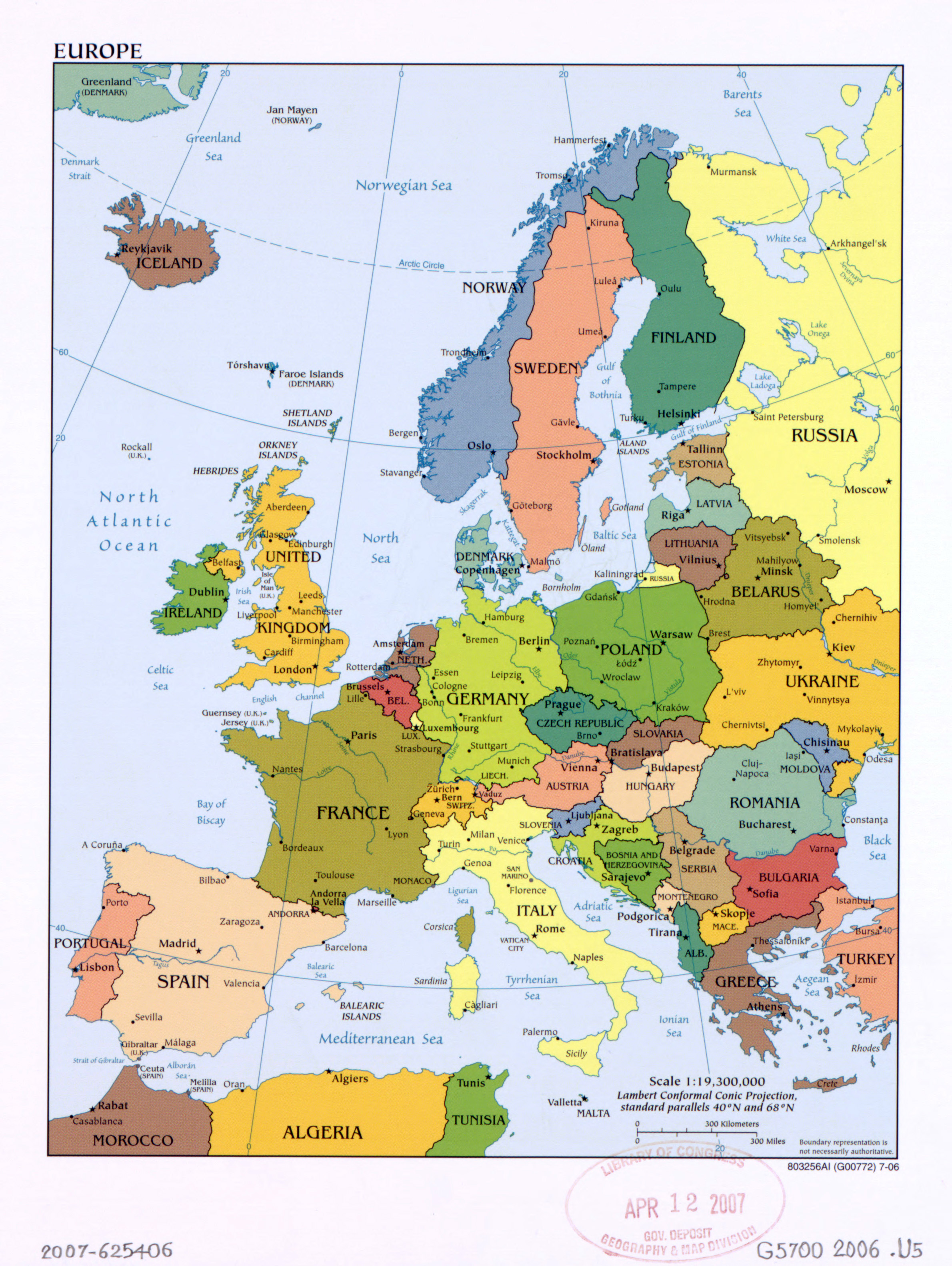 Large Political Map Of Europe With The Marks Of Capital Cities And - Map of europe with capital cities