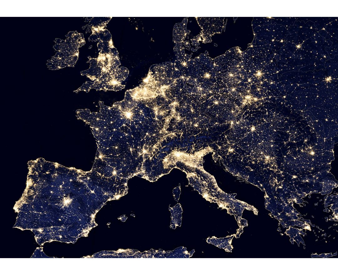 Large satellite image photo of Europe at night