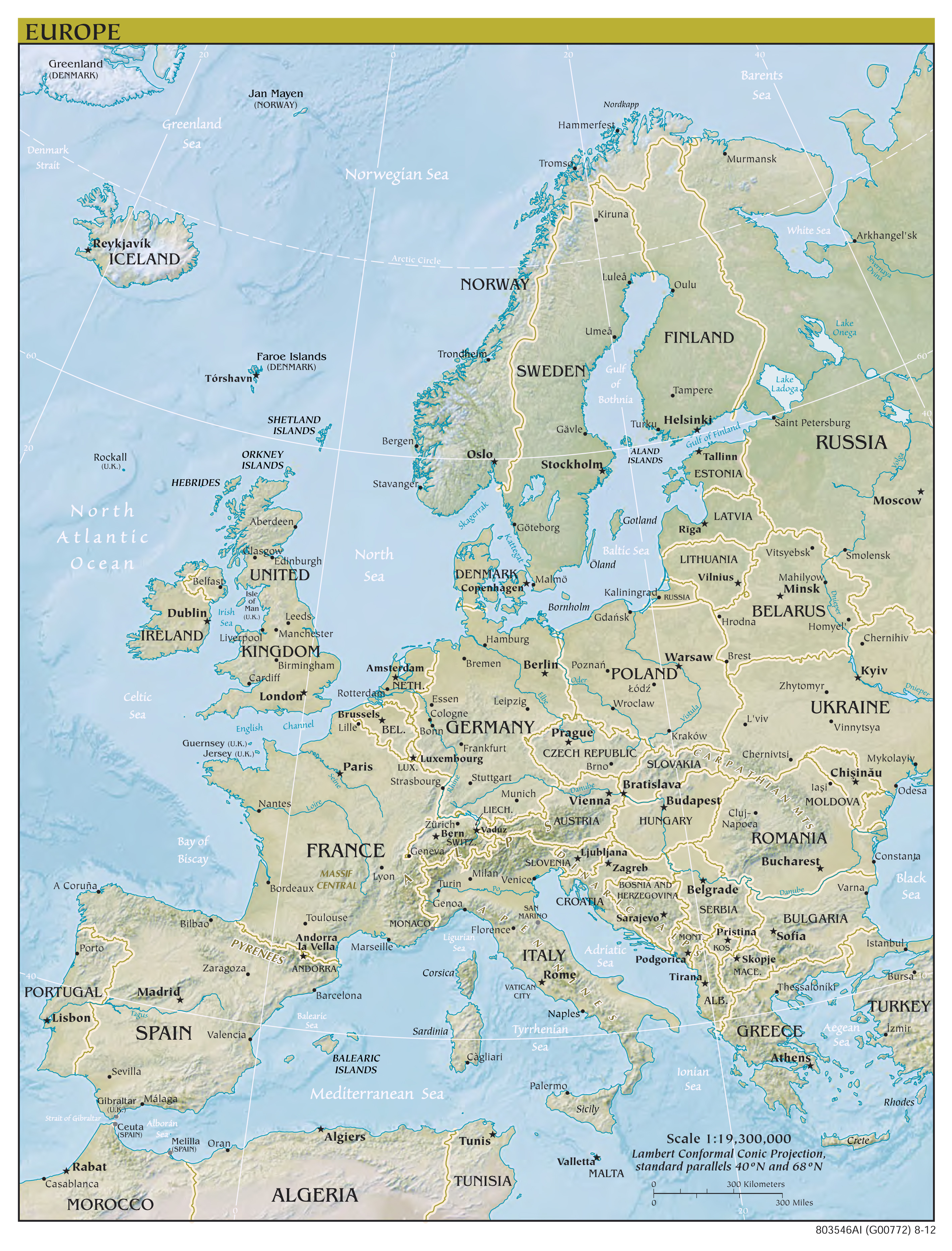large scale political map of europe with relief capitals and major cities 2012