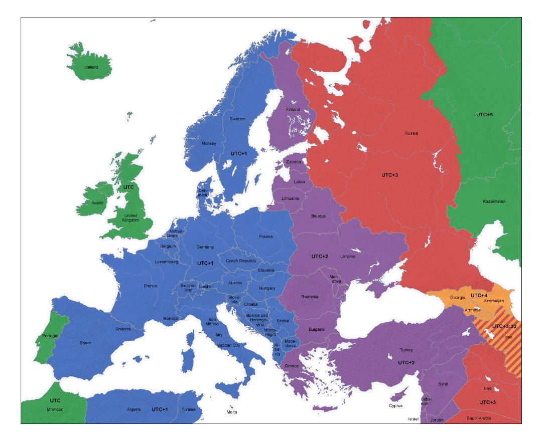 Large Time Zones map of Europe