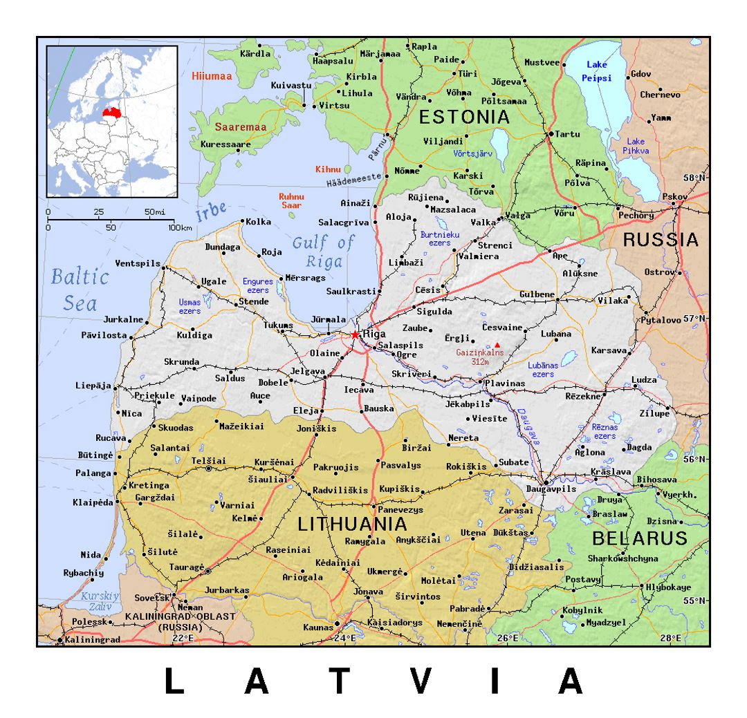 Detailed political map of Latvia with relief