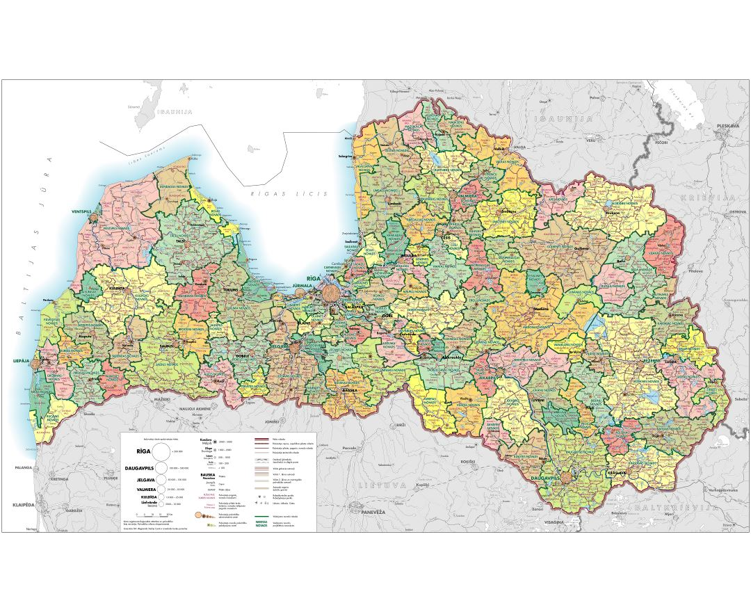 Large detailed administrative map of Latvia with roads, all cities and other marks