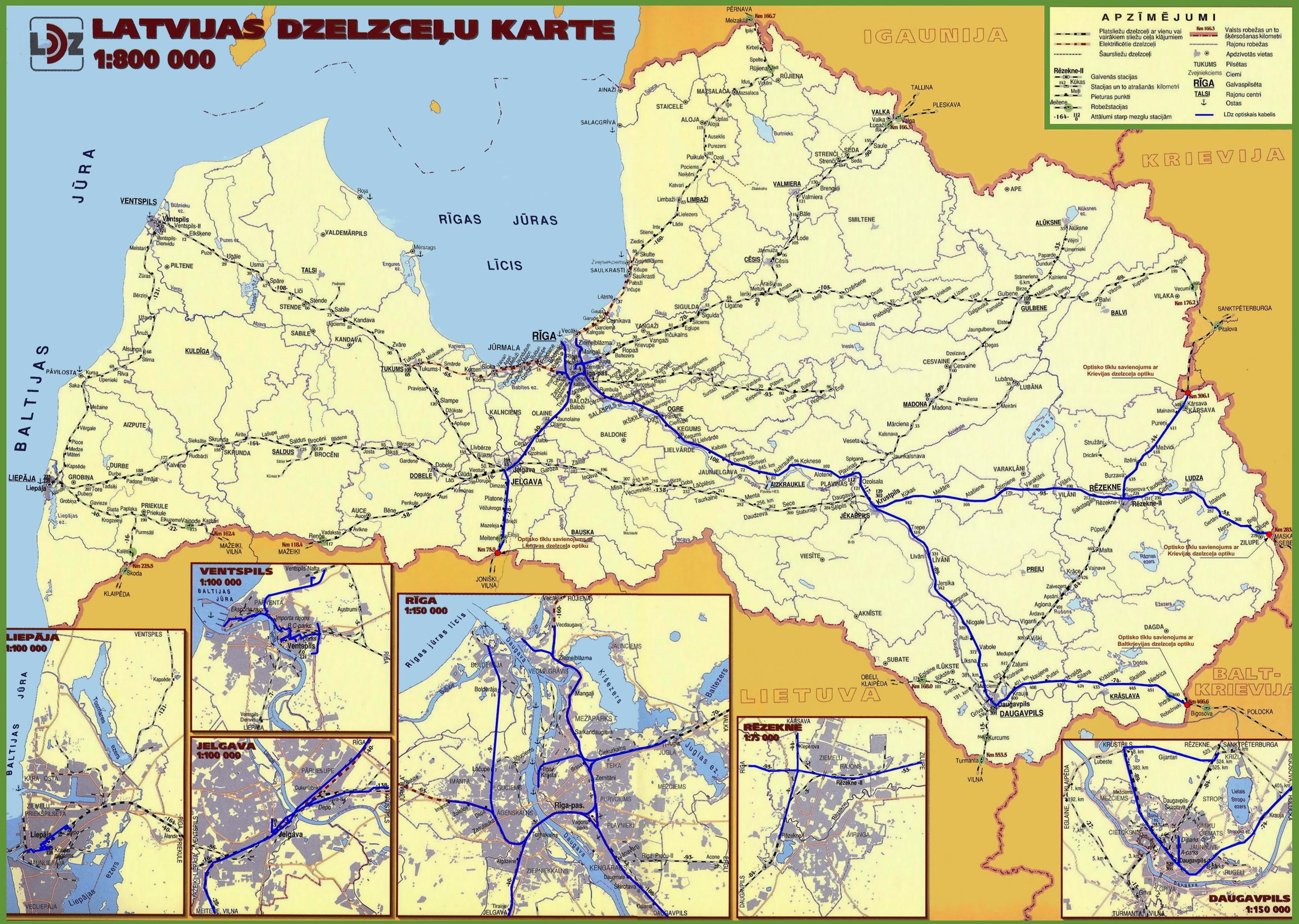 Large detailed railways map of Latvia Latvia Europe Mapsland