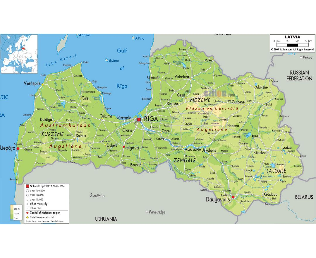 Maps of Latvia | Collection of maps of Latvia | Europe | Mapsland ...