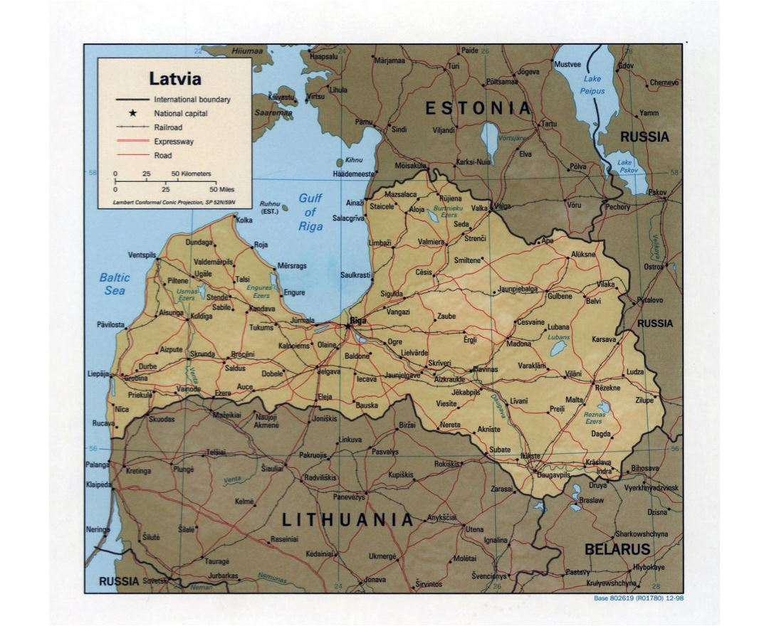 Large political map of Latvia with relief, roads and major cities - 1998