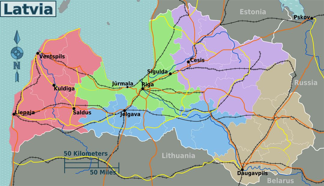 Large regions map of Latvia