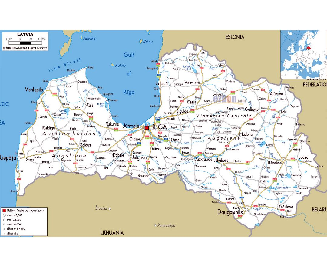 Maps of Latvia Detailed map of Latvia in English Tourist map