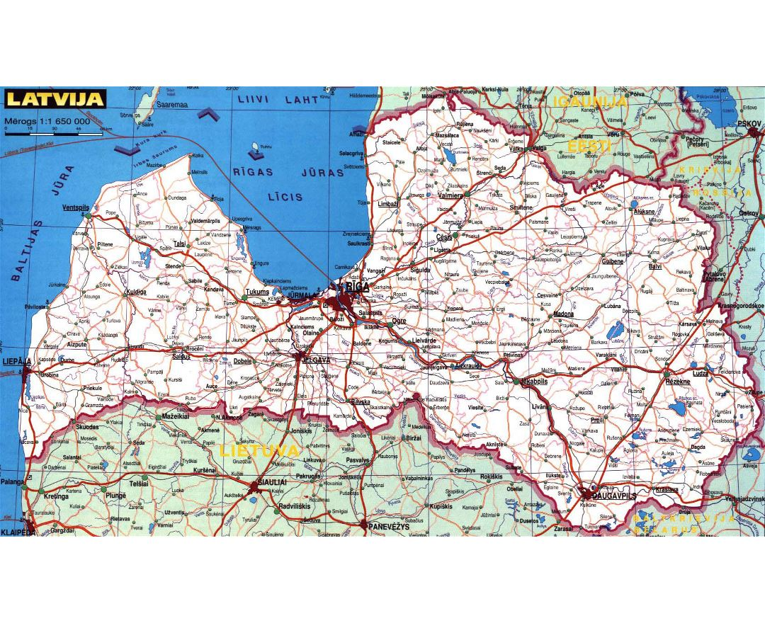 Large road map of Latvia with cities