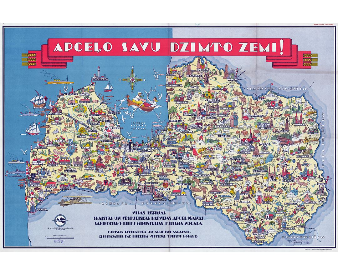 Large scale detailed tourist illustrated map of Latvia