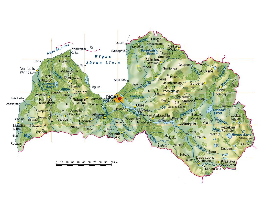 Large topographical map of Latvia