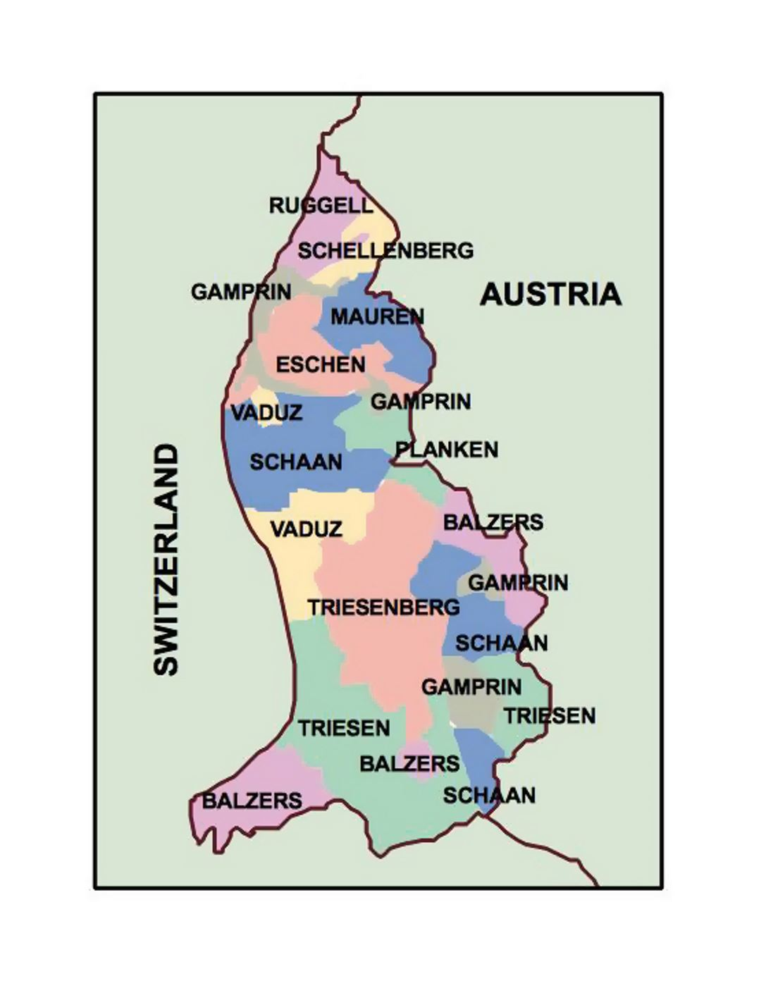 Administrative Map Of Liechtenstein Liechtenstein Europe - Liechtenstein map