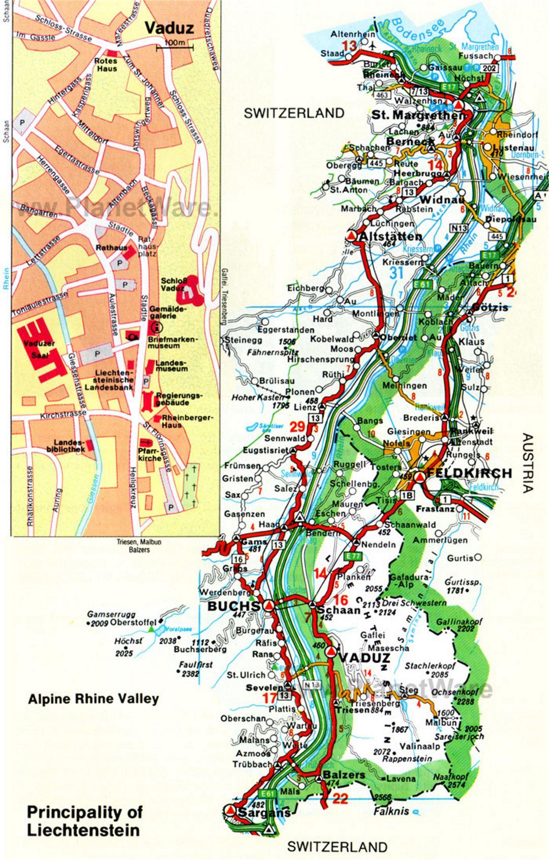 Detailed road map of Liechtenstein Liechtenstein Europe
