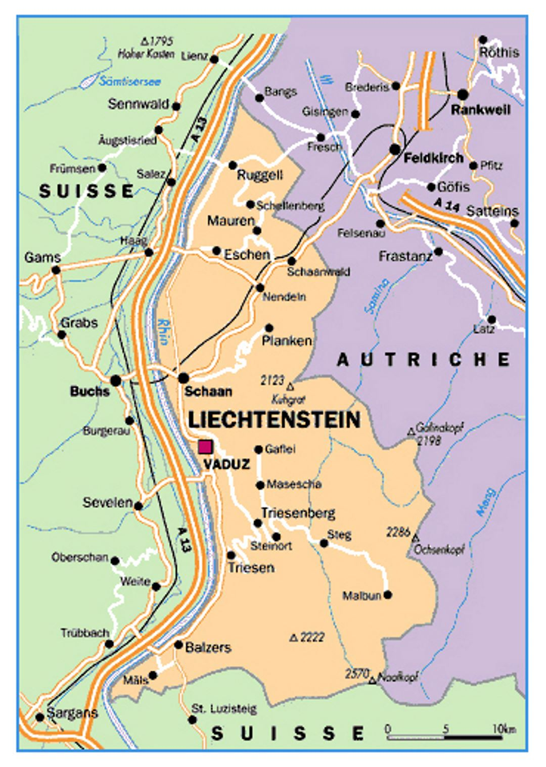 Map Of Liechtenstein Small political map of Liechtenstein | Liechtenstein | Europe