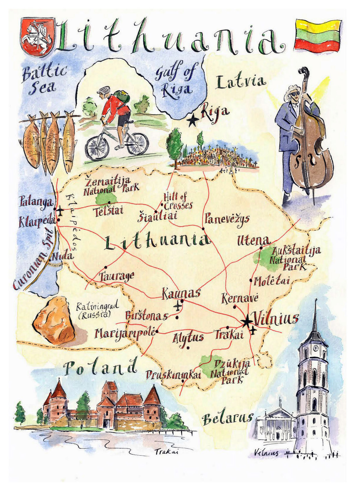Detailed illustrated map of Lithuania | Lithuania | Europe ...