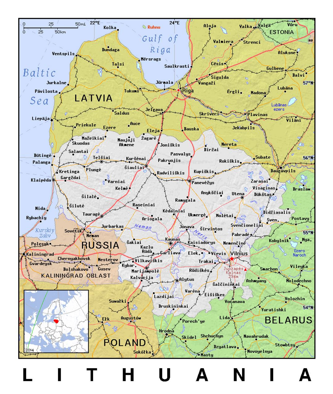 Detailed political map of Lithuania with relief
