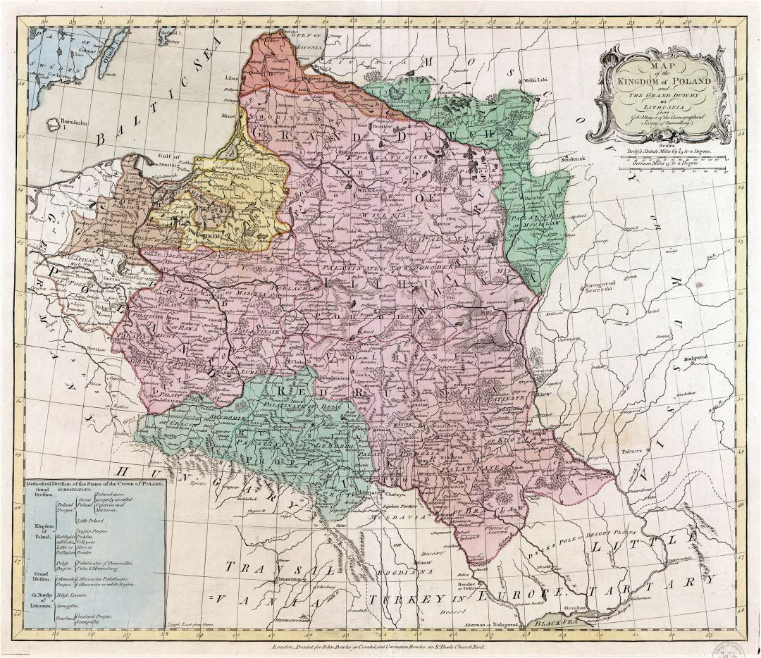 Large detail map of the Kingdom of Poland and the Grand Dutchy of Lithuania - 177x