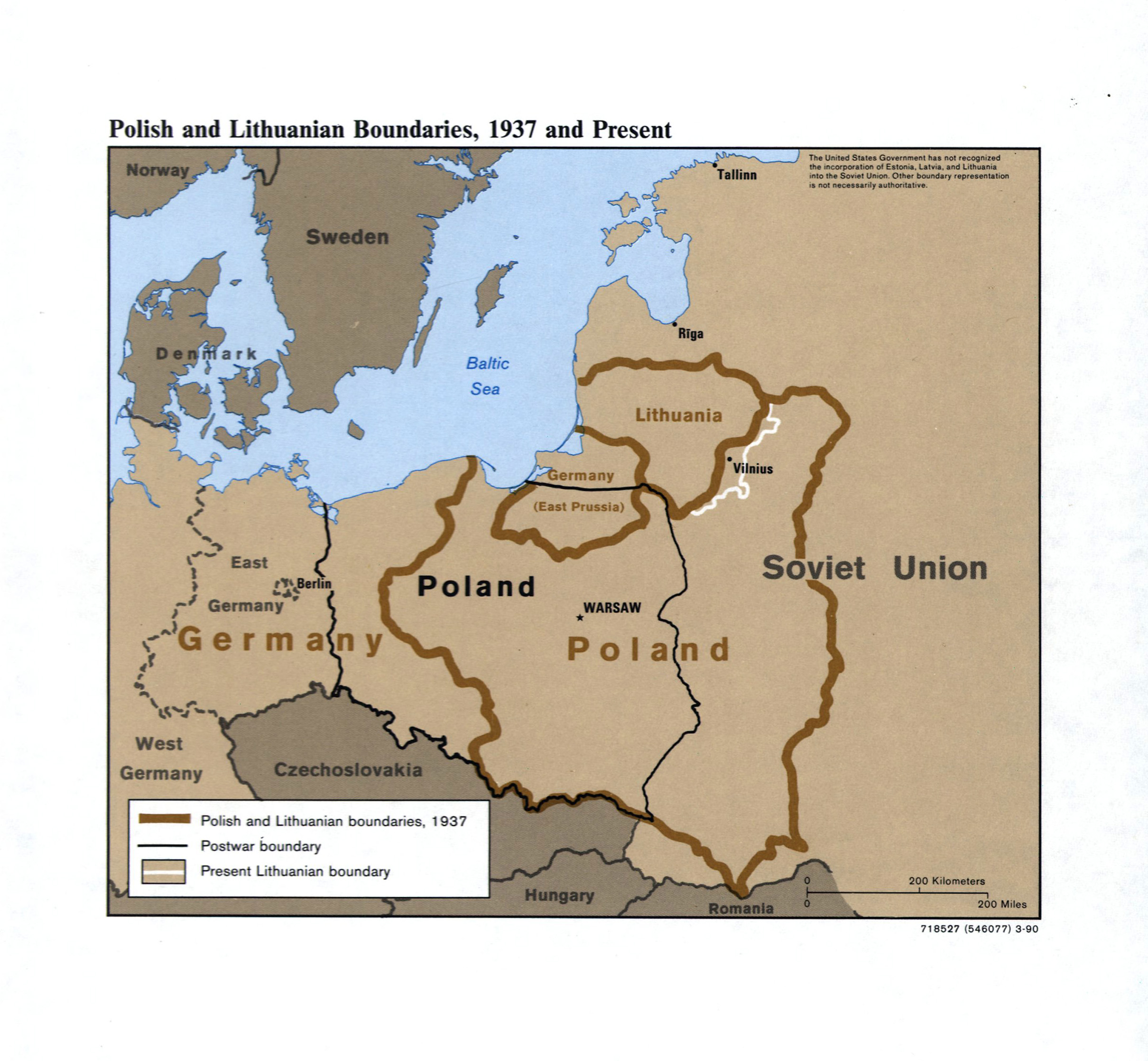 Large detailed Polish and Lithuanian boundaries map 1937 and