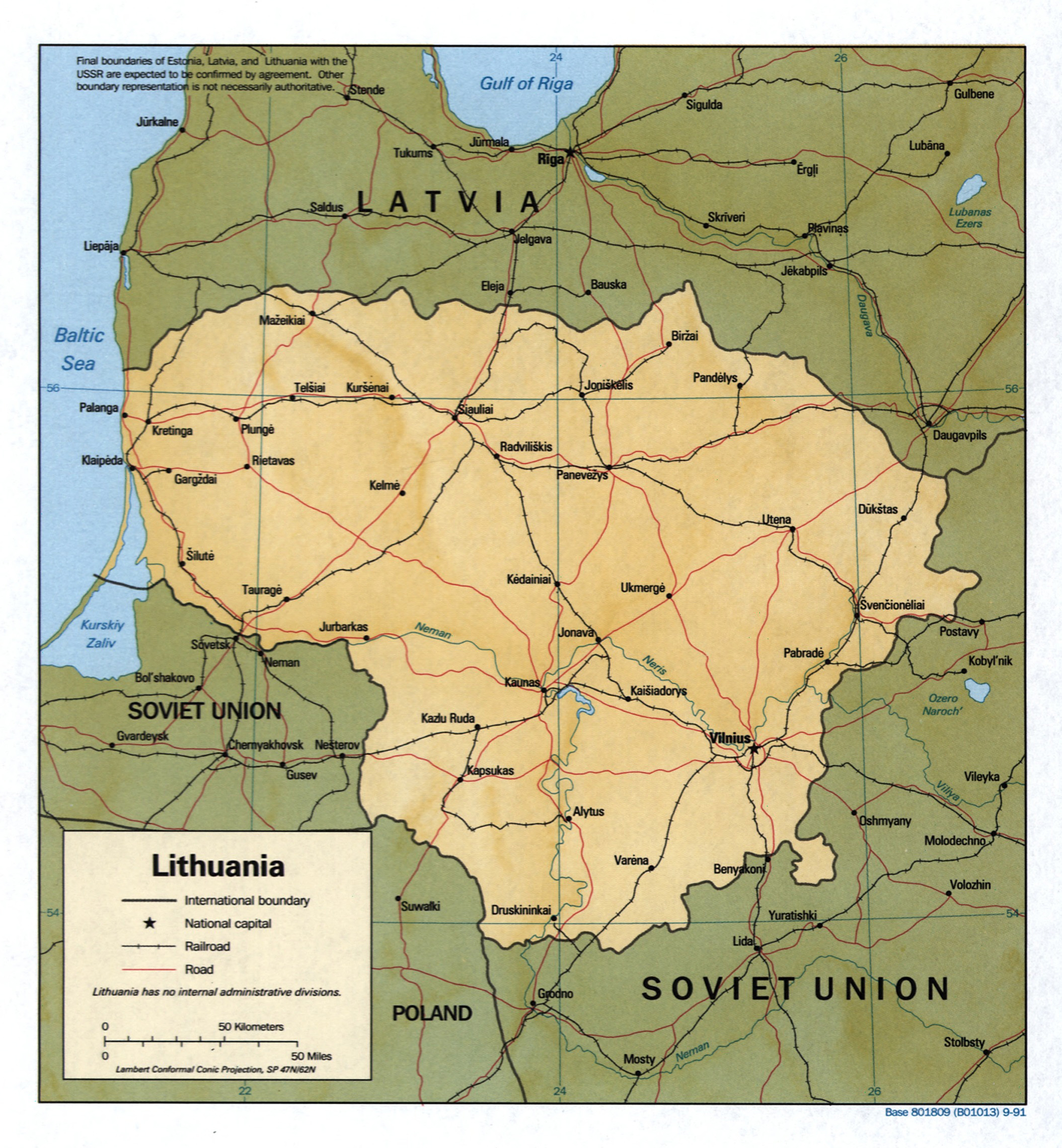Large detailed political map of Lithuania with relief roads
