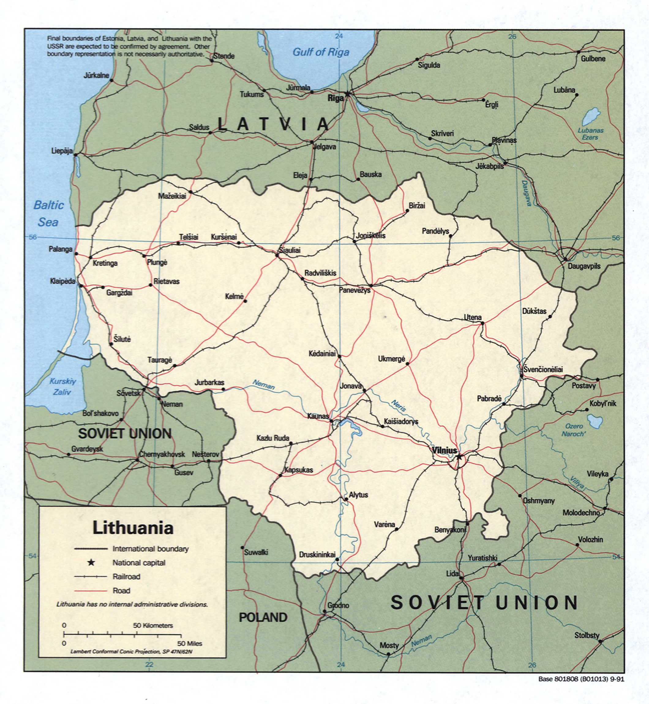 Large detailed political map of Lithuania with roads railroads and