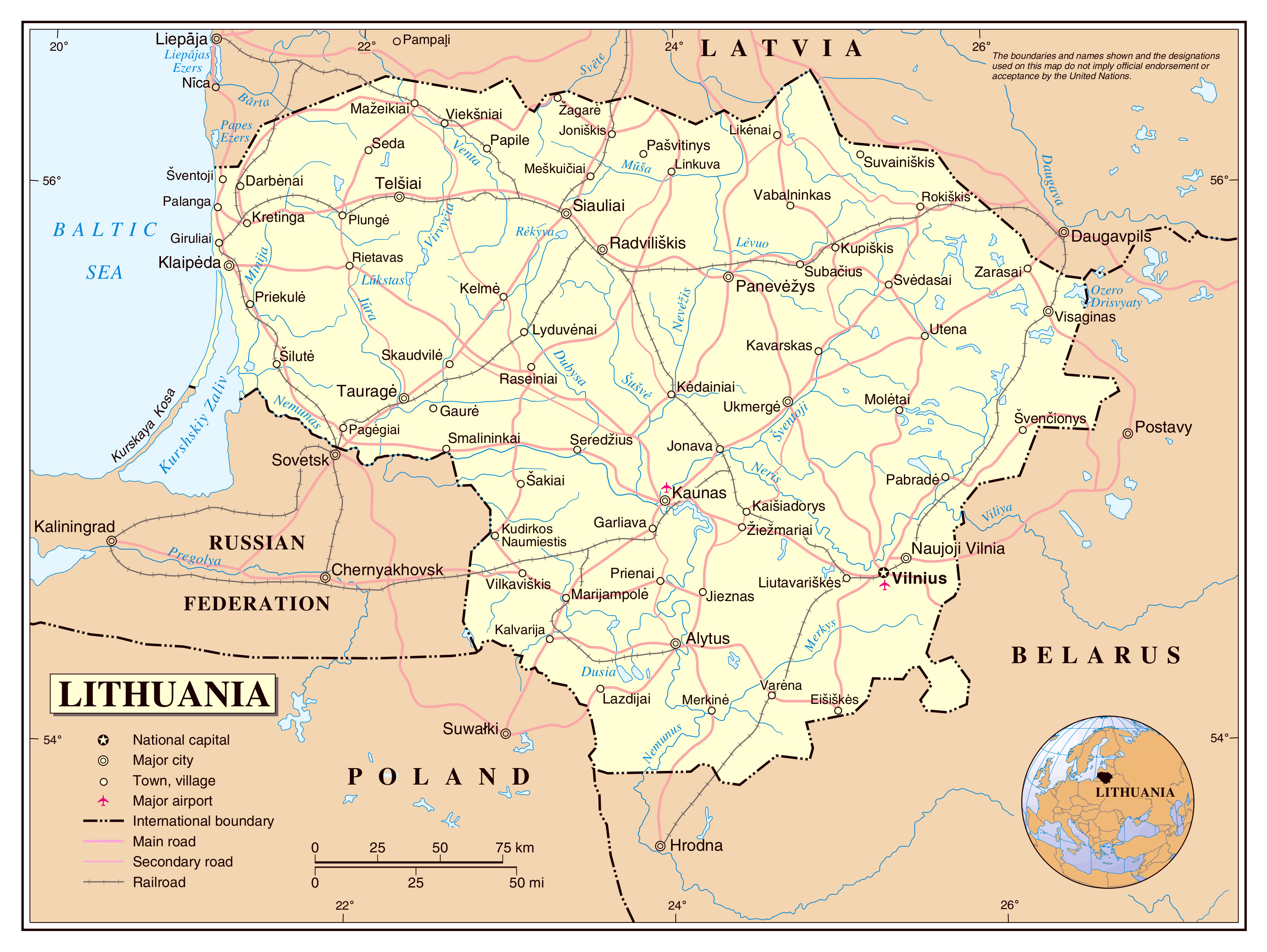 Large detailed political map of Lithuania with roads railroads