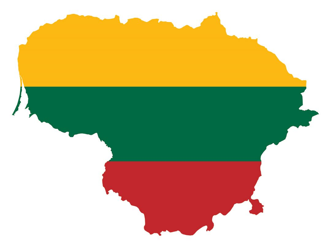 Large flag map of Lithuania