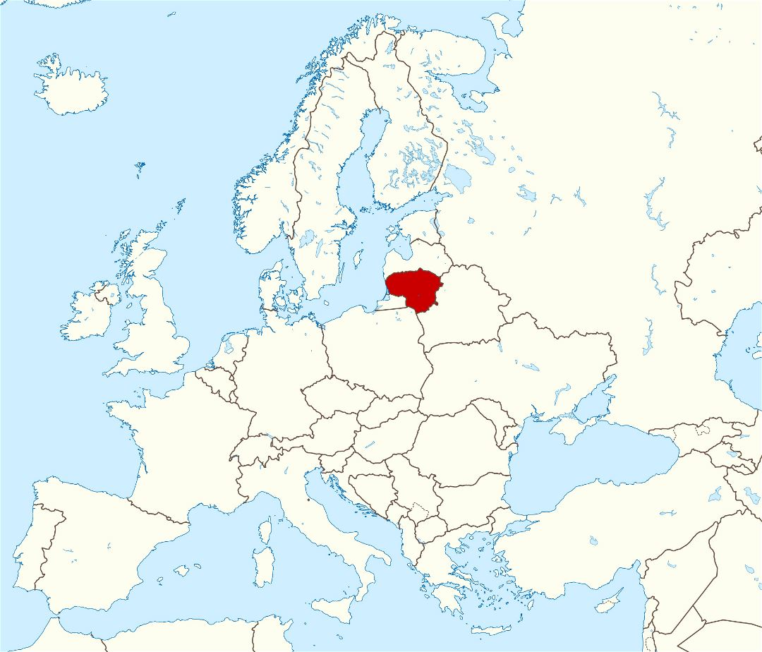 Large location map of Lithuania