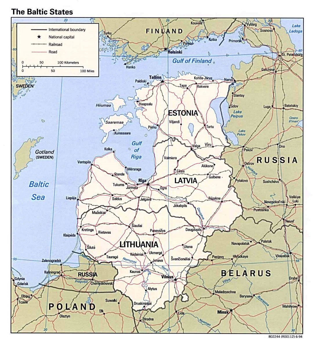 Large map of the Baltic States - 1994