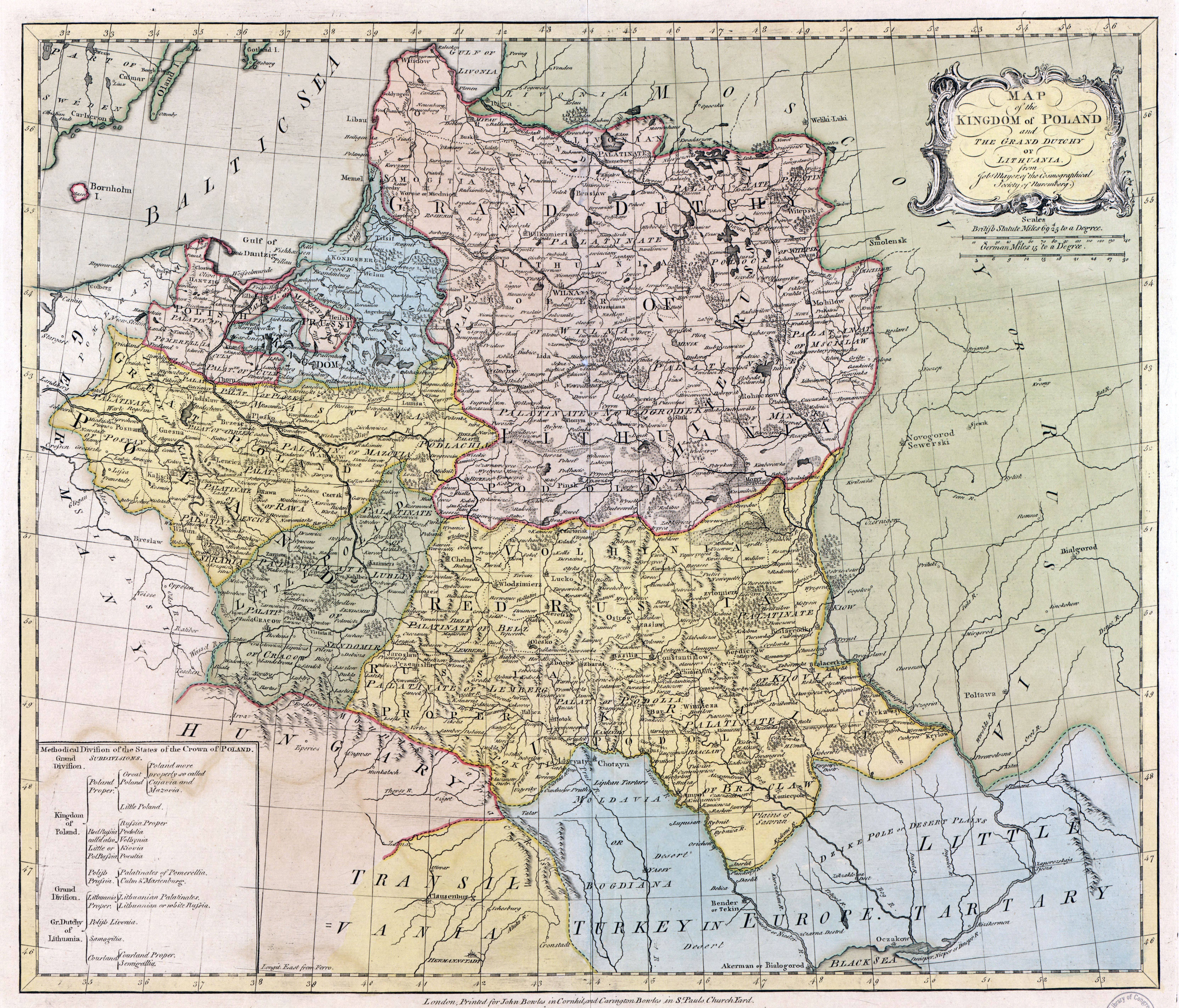 Large scale map of the Kingdom of Poland and the Grand Dutchy of