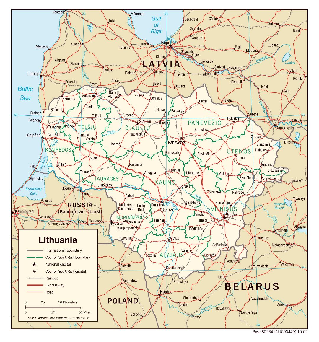 Large scale political and administrative map of Lithuania with roads, railroads and major cities - 2002