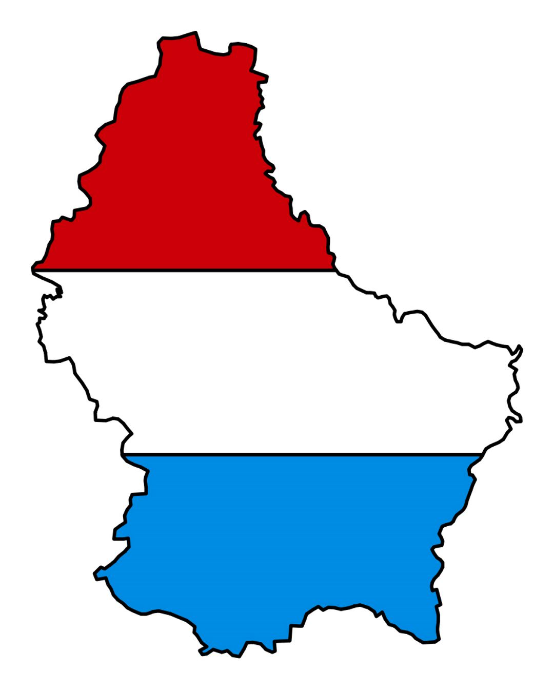 Detailed flag map of Luxembourg