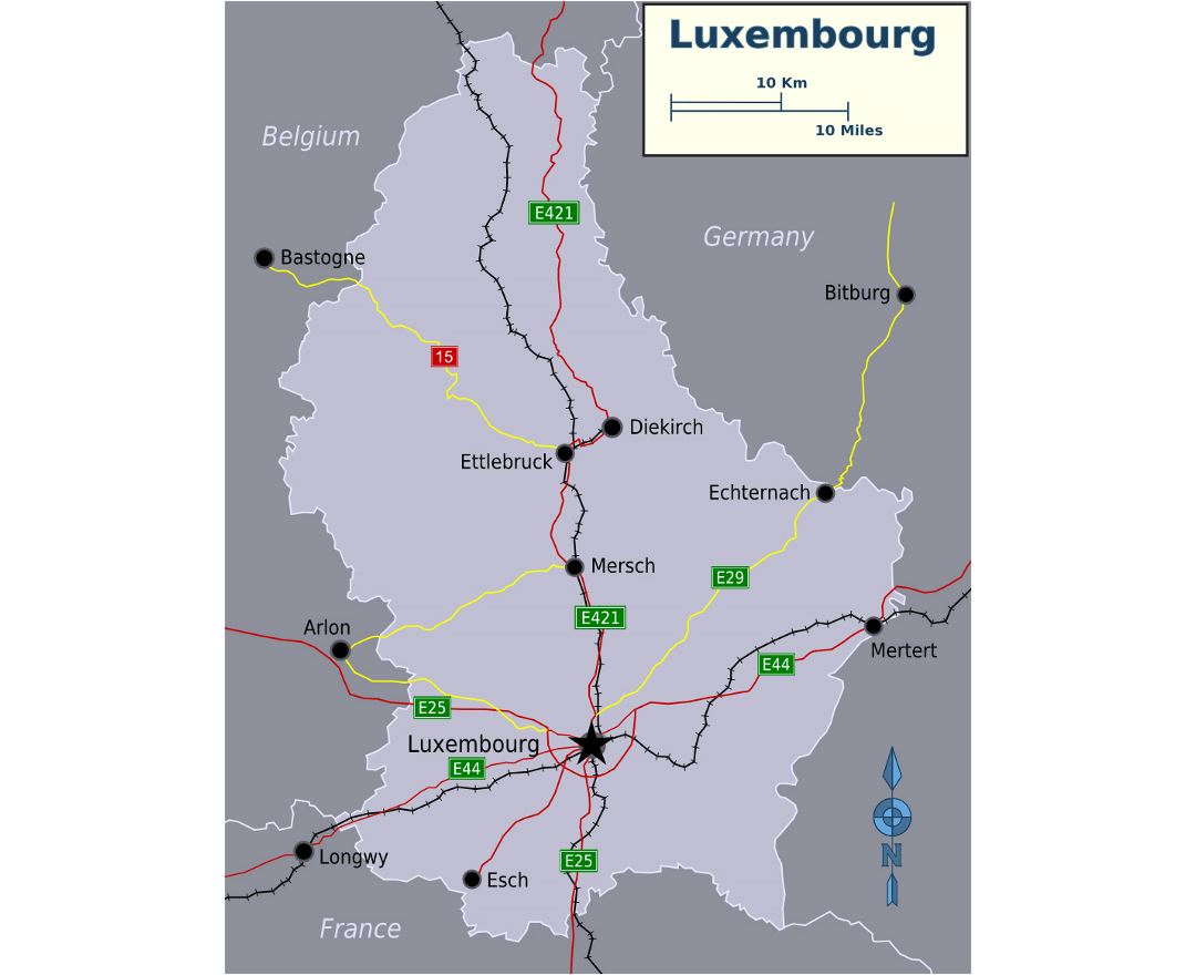 Detailed map of Luxembourg