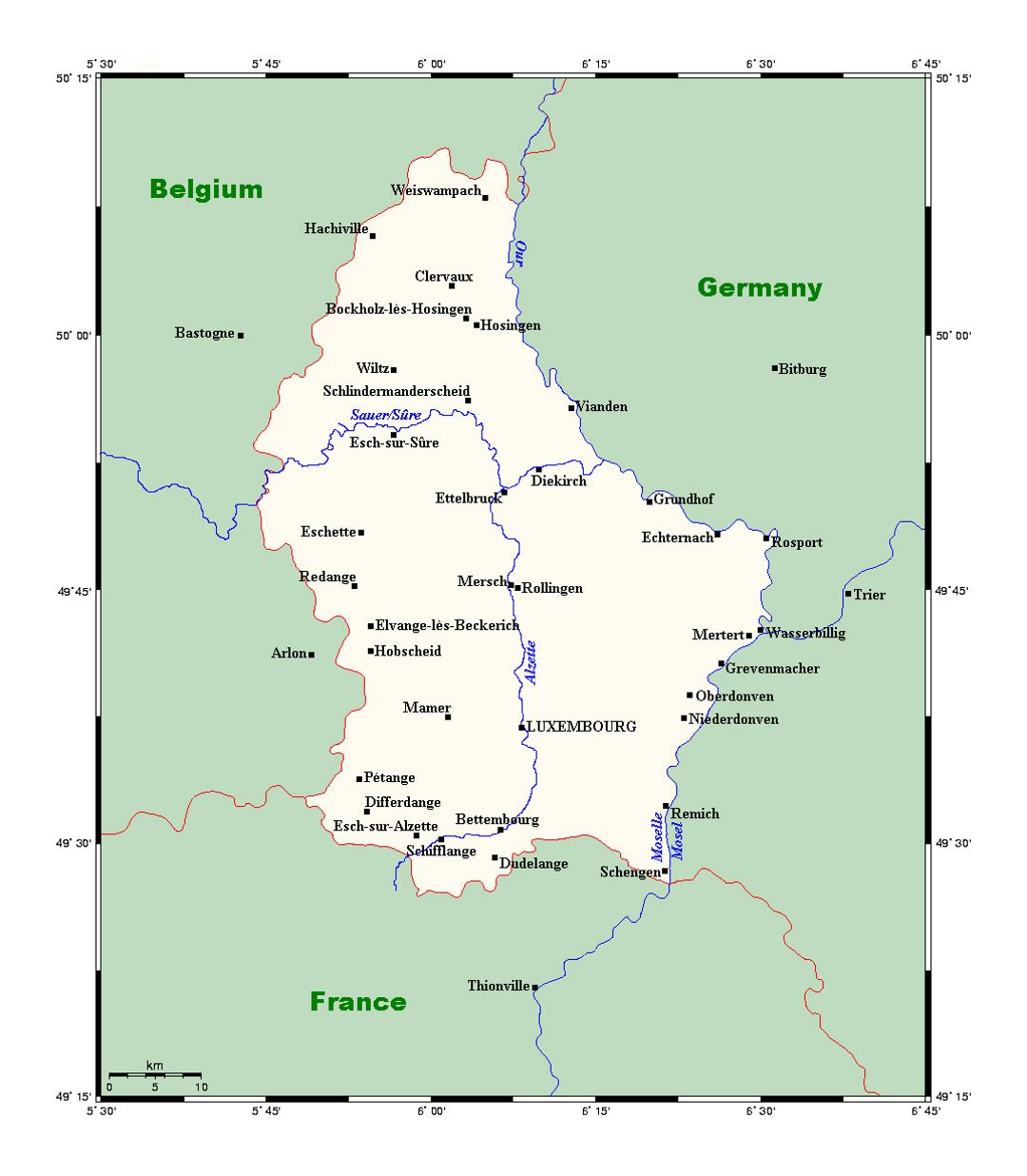 Detailed map of Luxembourg with major cities | Luxembourg ...
