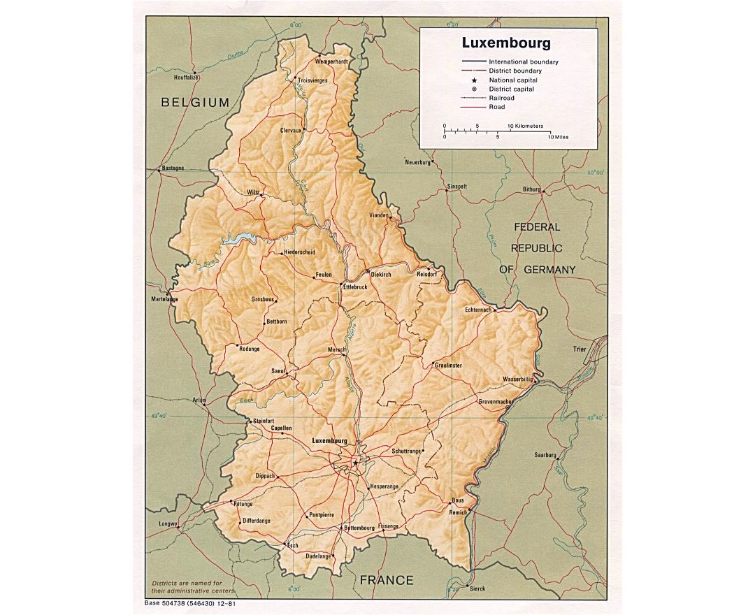 Detailed political and administrative map of Luxembourg with relief, roads, railroads and major cities - 1981