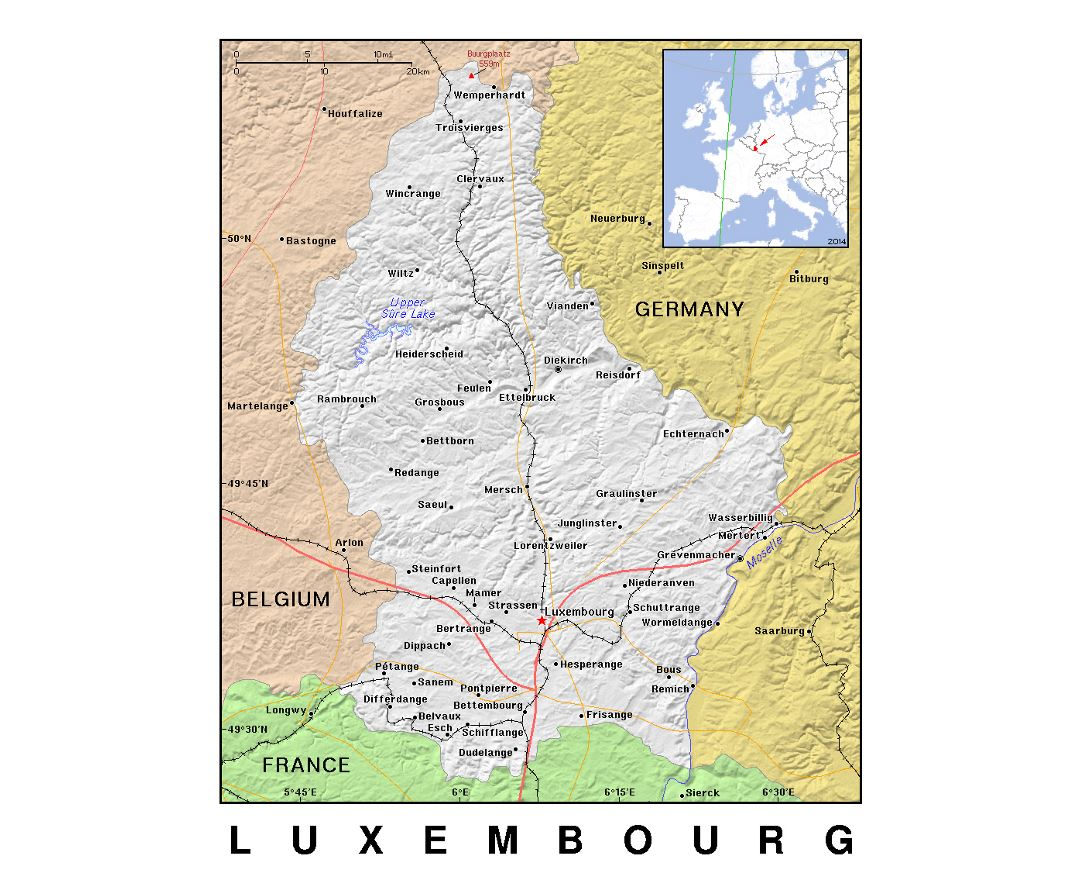 Detailed political map of Luxembourg with relief