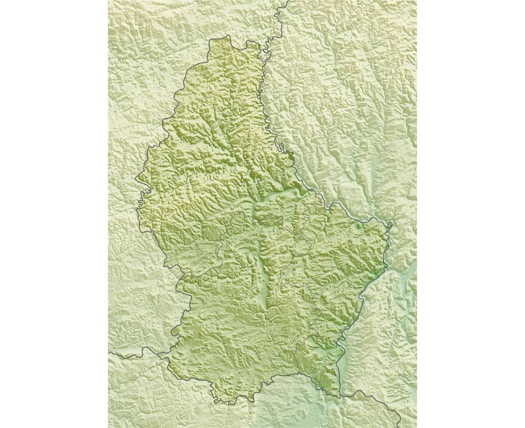 Detailed relief map of Luxembourg